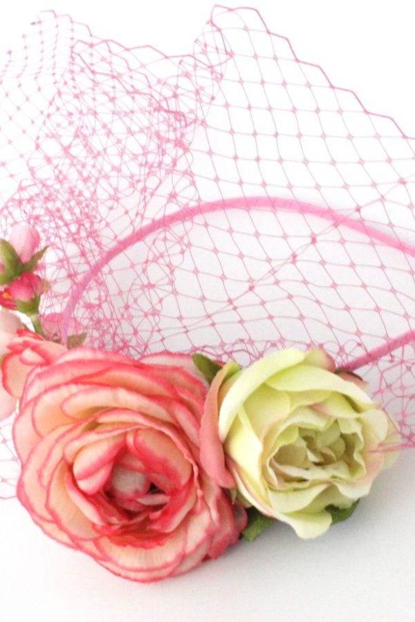 wedding fascinator with flowers
