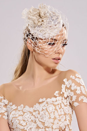 wedding toque with lace