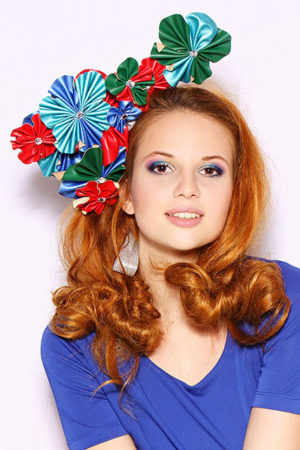 original fascinator with flowers from eco-leather