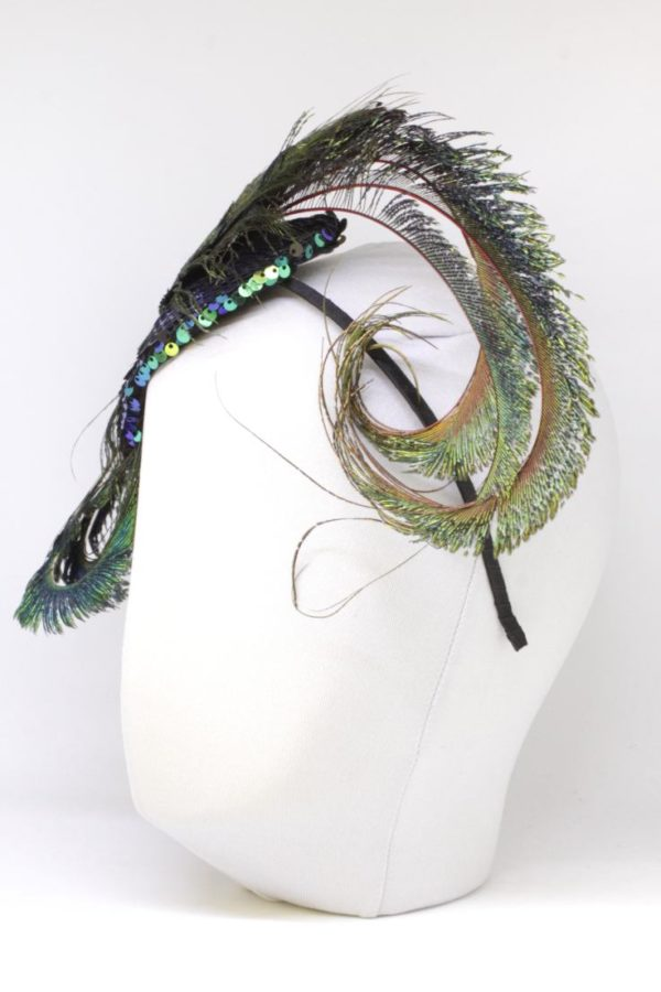 sequin fascinator with peacock feathers