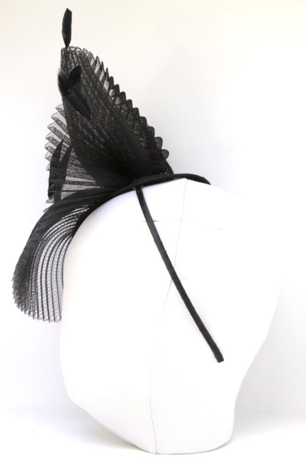 elegant black fascinator with feathers