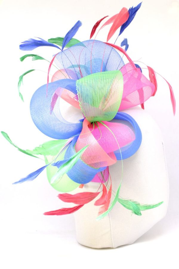 colorful fascinator with feathers