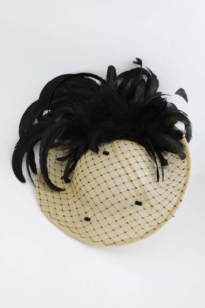 straw hat with black feathers