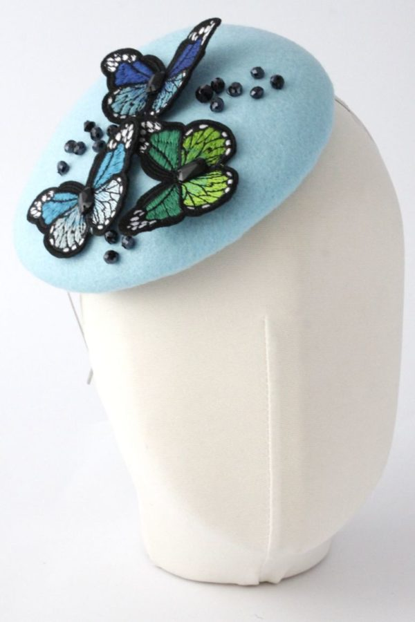felt toque with butterflies and crystals
