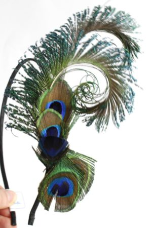 hairband with peacock feathers