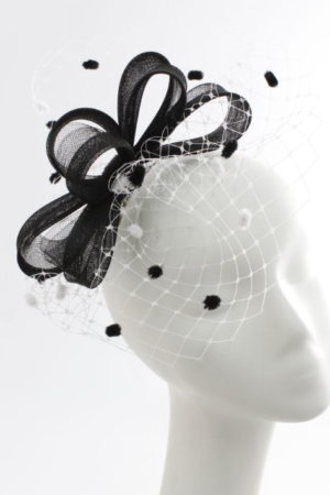 black and white fascinator with pompons